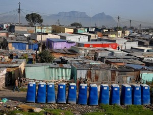 Photo of removable communal toilets in township
