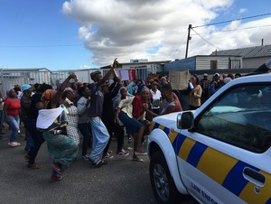 Photo of protest at Silver Leaf Primary