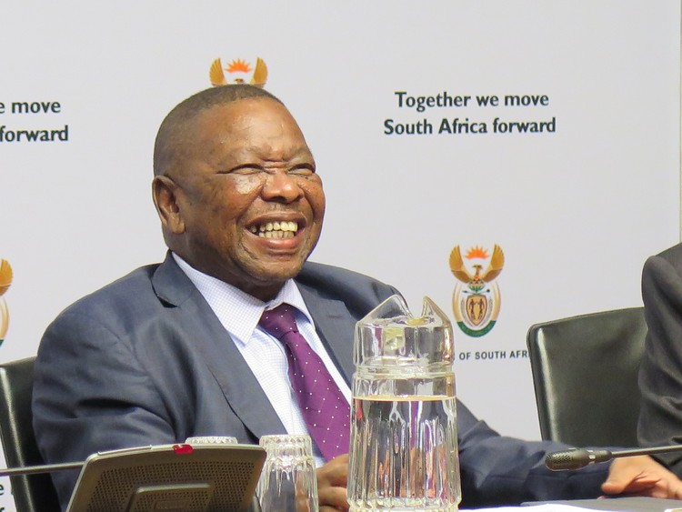 Blade Nzimande during a post-SONA briefing