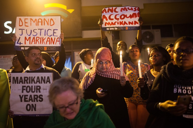 Protest outside SABC for 'Miners Shot Down' film