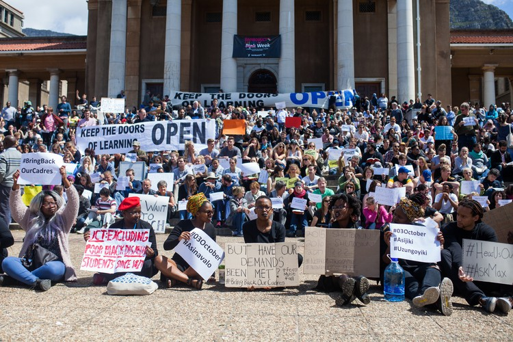 Photo of protest to keep UCT open