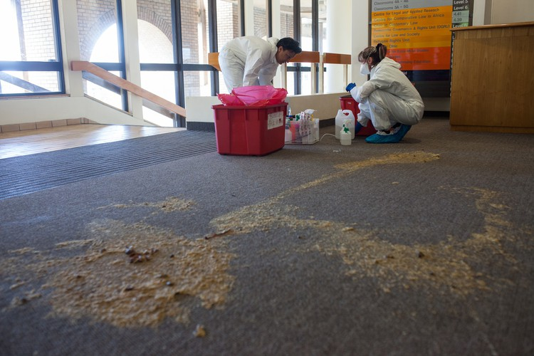 Photo of faeces on the floor of the UCT Law Building
