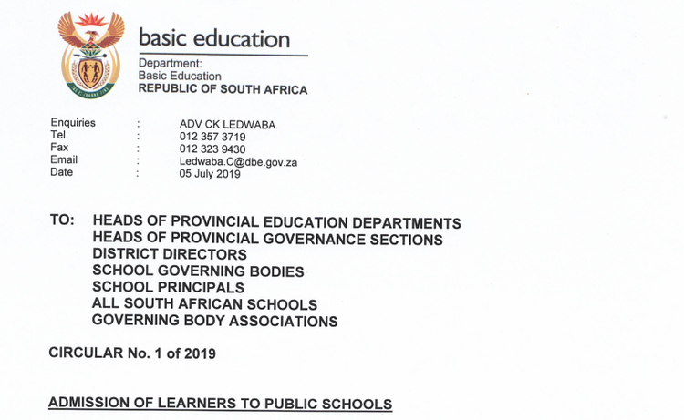 Letterhead of circular sent by DBE