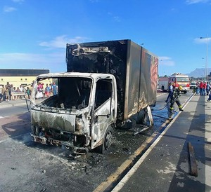 Photo of a burnt out truck