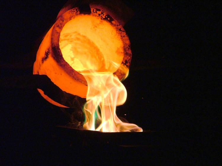 Photo of gold being poured