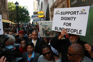 Photo of protest for dignity of blind people