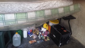 Photo of goods stocked under bed