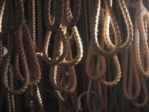 Photo is of nooses at the Apartheid Museum