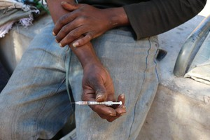 Photo of injecting drug user