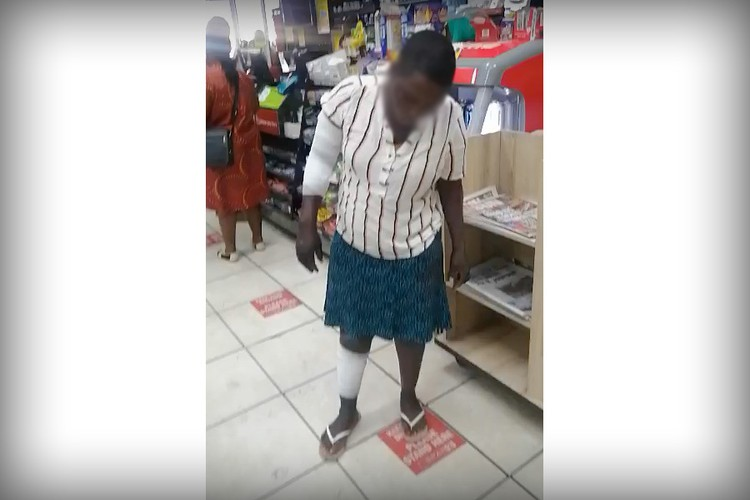 This woman was splashed with methylated spirits and set alight for stealing a packet of meat worth R25. Photo is a screengrab from a video taken by a Musina resident immediately after the attack, on 10 November.