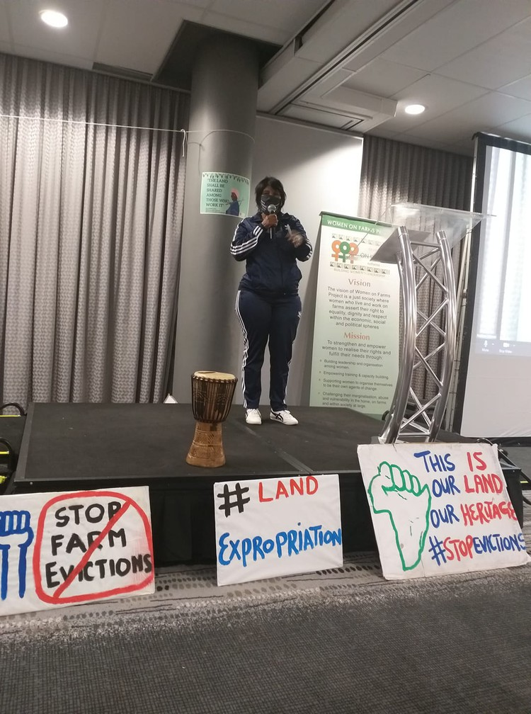 Magrieta Arendse explains how she was evicted from a farm with her children after her husband died. She was speaking at a three-day land colloquium webinar last week hosted by Women on Farms Project. Photo taken from Women on Farms Facebook page
