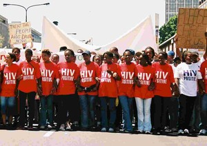 Photo of protest for HIV treatment.