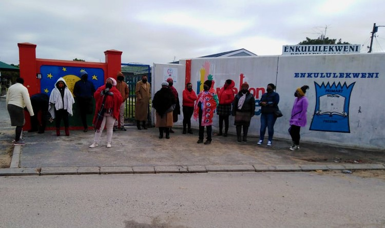 Teachers protest outside Ekululekweni Primary School in Kraaifontein, Cape Town, on Wednesday morning. Photo supplied