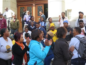 photo of Grootkraal school supporters outside court