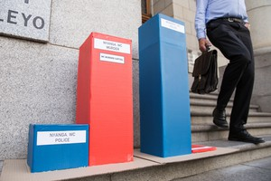 Photo of boxes outside court