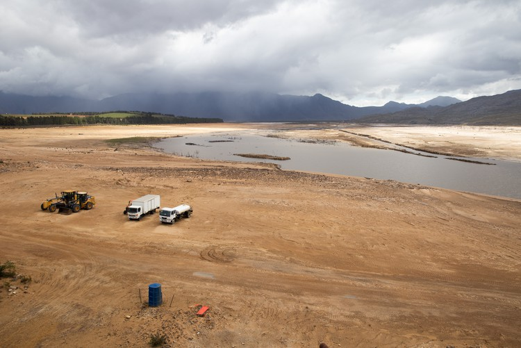 Photo of Theewaterskloof Dam during a severe drought in the Western Cape on 24 April 2018.