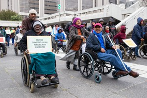 Photo of protesters in wheelchairs
