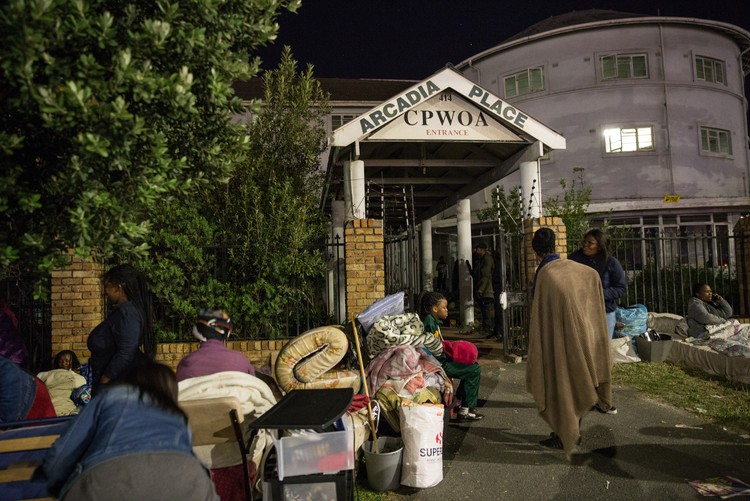 Residents spend the night outside Arcadia Place in Observatory after being evicted. All photos: Ashraf Hendricks