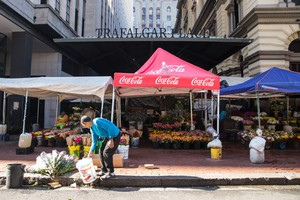 Photo of flower selling market in Cape Town