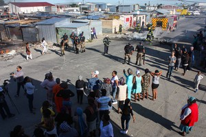 Photo of protesters at school in Joe Slovo