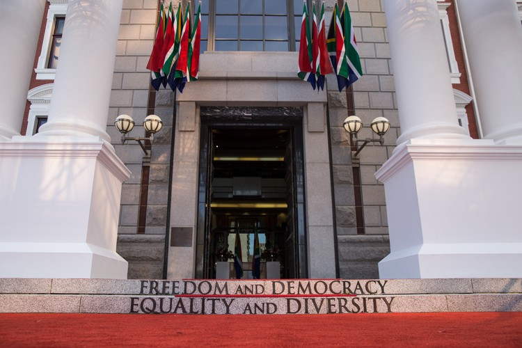 The entrance to the National Assembly at Parliament during the 2019 State of the Nation Address (SONA) in Cape Town, South Africa. - Ashraf Hendricks