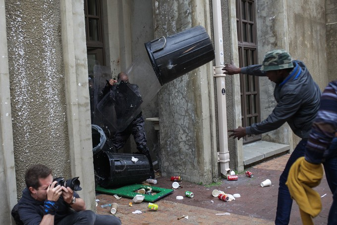 Protesters clash with private security on UCT 9