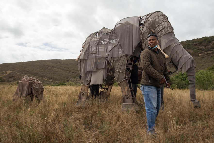 It's hard work to make the elephant move and breathe, says Angelo Endley who worked the head of the life-size elephant puppet in 2016.