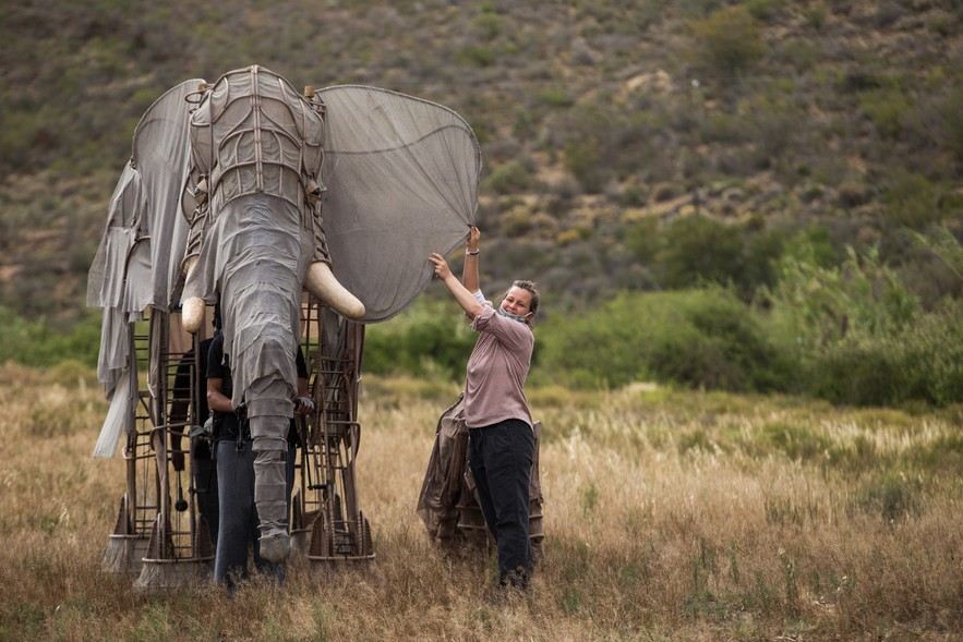 Aja Marneweck, project director of the Barrydale Puppet Parade straightens the elephant's ear during the filming of Mnumzaan.
