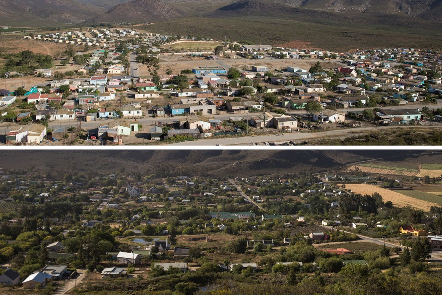 """The two sides of Barrydale. During apartheid, the Group Areas Act removed black people from the lower side making it a 'whites only' area. Donna Kouter a Barrydale resident said, """"The coloured people were chucked behind the hill"""". """"They called that part, Steek My Weg [hide me away]""""."""