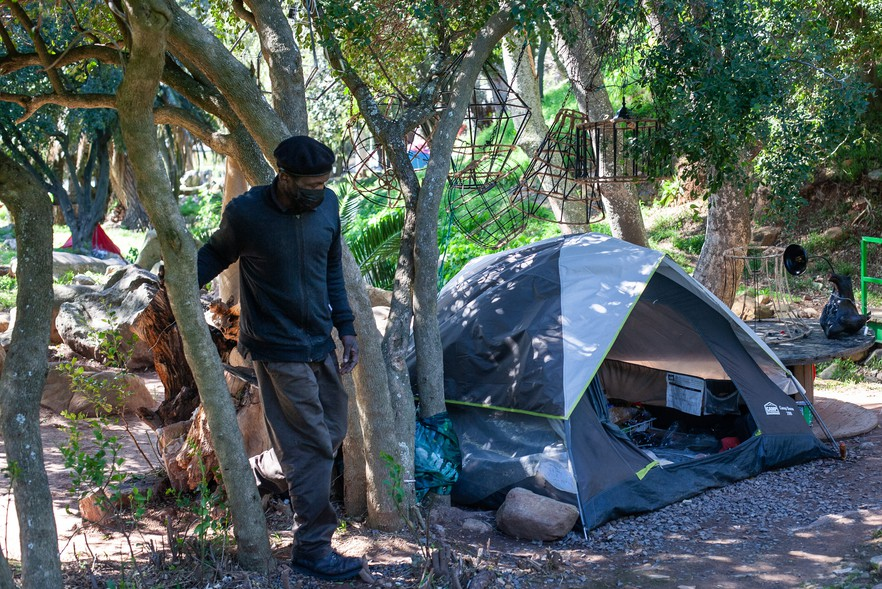 When the Level 5 lockdown started last year, Goredema lost his job and could no longer afford rent. He ended up homeless and now lives in a tent in Van Riebeeck Park.
