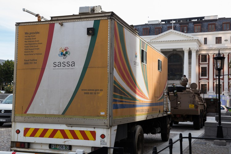 Photo of SASSA truck outside Parliament