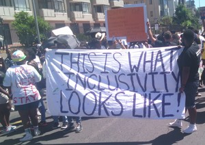 Photo of silent protest against Cape Town Pride