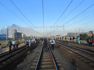 Photo of people walking on a railway line