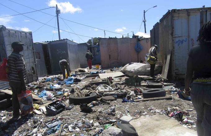 Photo of debris after a shack was destroyed