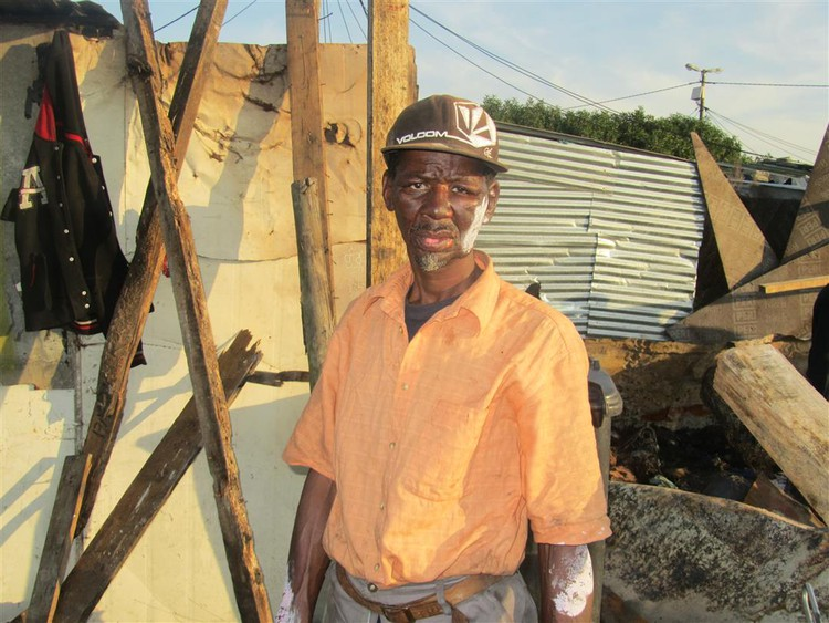 Photo of the man whose shack burnt down