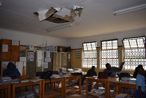 Photo of broken ceiling at school