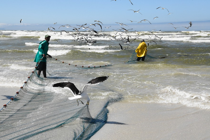 fishermen cape town false bay south africa fish nets