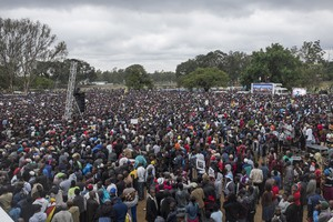 Photo of large protest in Harare