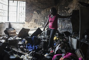 Photo of woman in burnt room