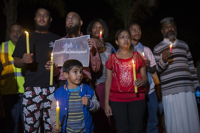 Photo of people at vigil for Shiraaz Mohamed