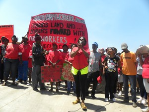 Photo of farm workers marching.
