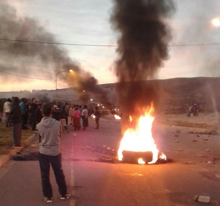 Photo of burning rubble