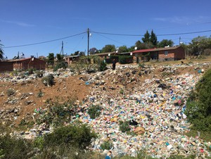 Photo of rubbish along road
