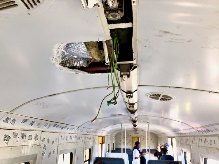 Photo of messed up train carriage