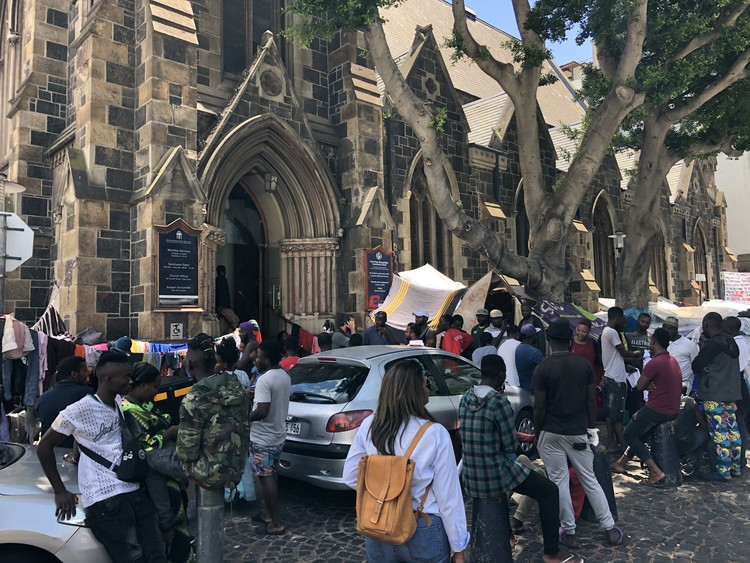 Photo of refugees outside the church in South Africa