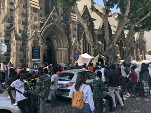 Photo of refugees outside the church