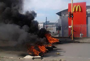 Photo of burning tyres