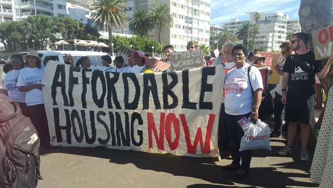 Photo of protest for affordable housing