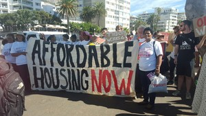 Photo of demonstration for affordable housing
