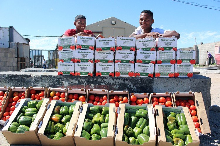 Jason Williams and Dale Groep sell fruit and vegetables.